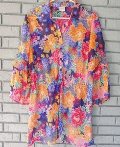 CUPIO sheer floral top size large